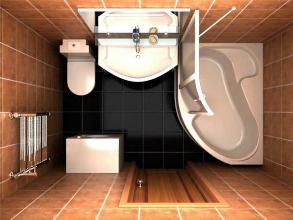 Наглядный пример компактного размещения мебели в ванной комнате