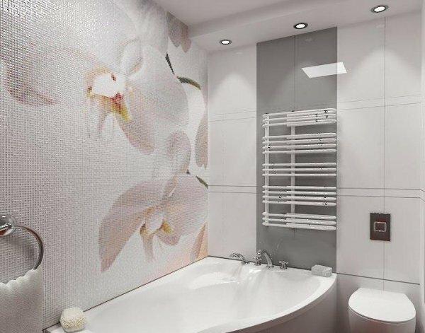 Популярным дизайнерским решением являются цветы, вымощенные специальной мелкой плиткой с переливами