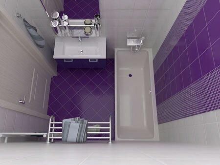 Любимый многими цвет индиго находит применение везде, в том числе и в ванной комнате