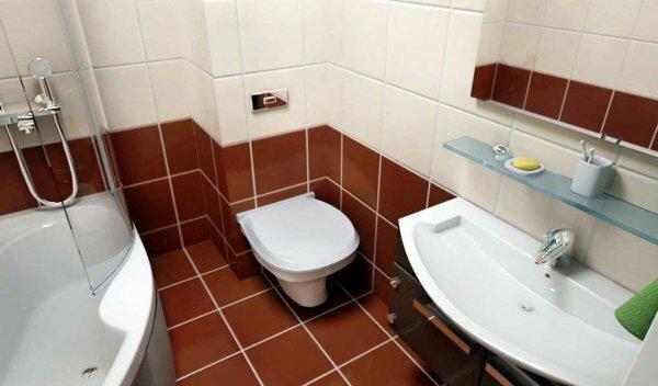 Остановив выбор на маленькой ванне, у вас появляется место для красивого умывальника с тумбой для средств гигиены
