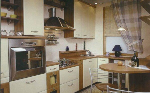 Кухня, оформленная в стиле модерн, в которой удобное размещение духовки: не снизу как многие привыкли, а на высоте одного метра