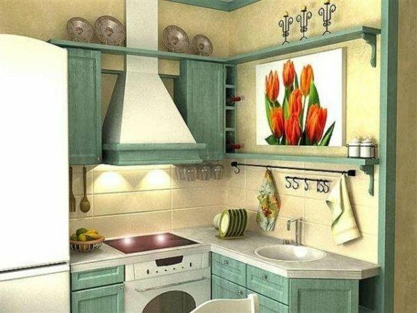 Стиль прованс подходит даже для кухонь в хрущевках