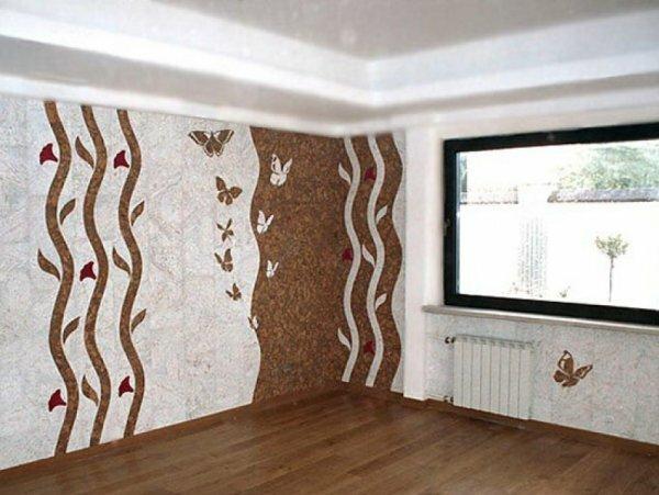 С помощью разного цветового решения можно отделить углы комнаты, тем самым сгладив неровности центральной части стен