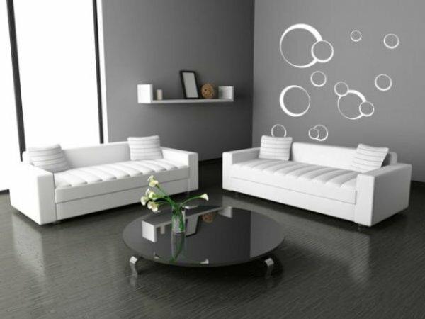 Серые стены очень изысканно сочетаются с белой мебелью