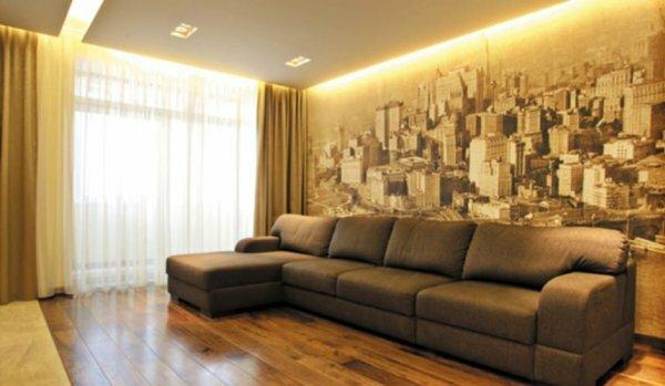 В каталогах модных дизайнеров всегда есть оформление комнат обоями с рисунком города