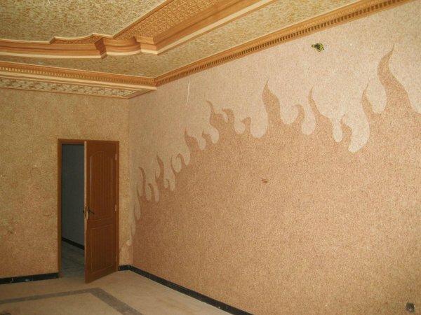 Стилистика стен и потолка могут совпадать, лучшим решение для их разделения является широкий багет