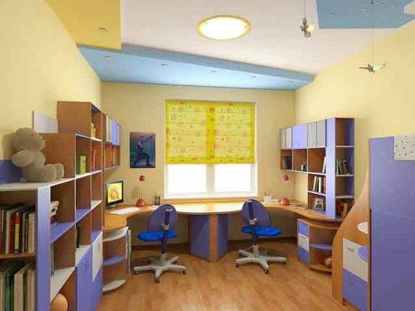 Оранжево-синяя комната для девочек-близнецов 7 лет