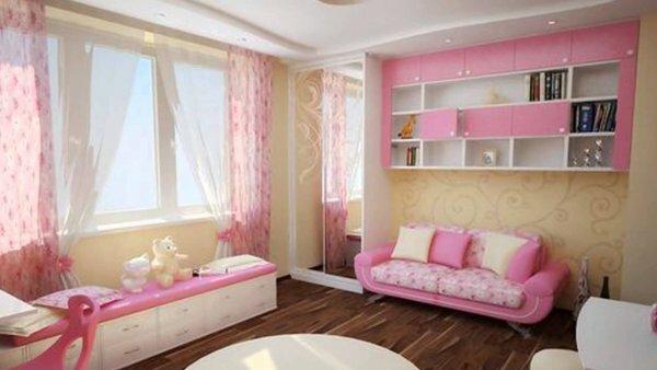 Легкий розовый тюль