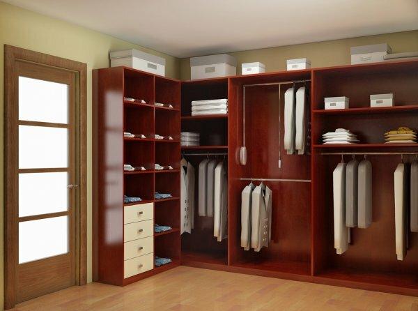 Угловая гардеробная-стеллаж в прихожей