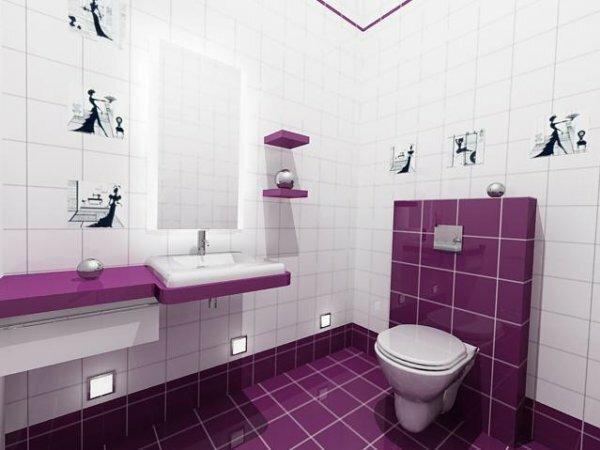 Бело-сиреневый туалет с раковиной и зеркалом