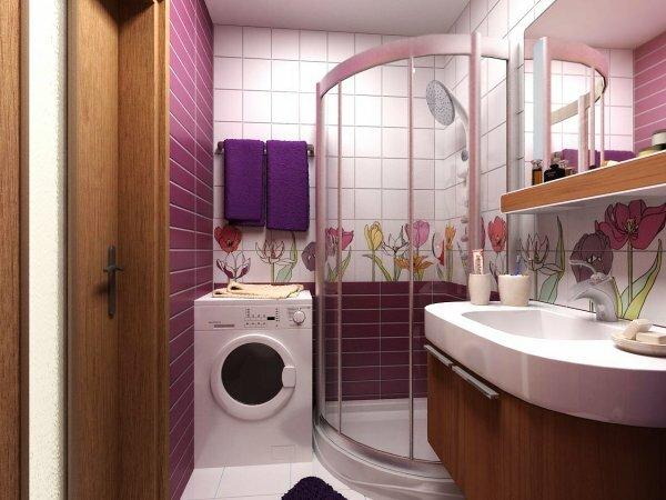 Сиреневая ванная «Флора» с душевой кабиной