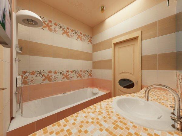 Бежевая ванная с цветочными вставками