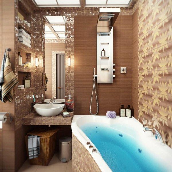 Коричневая ванная «Осенние листья»