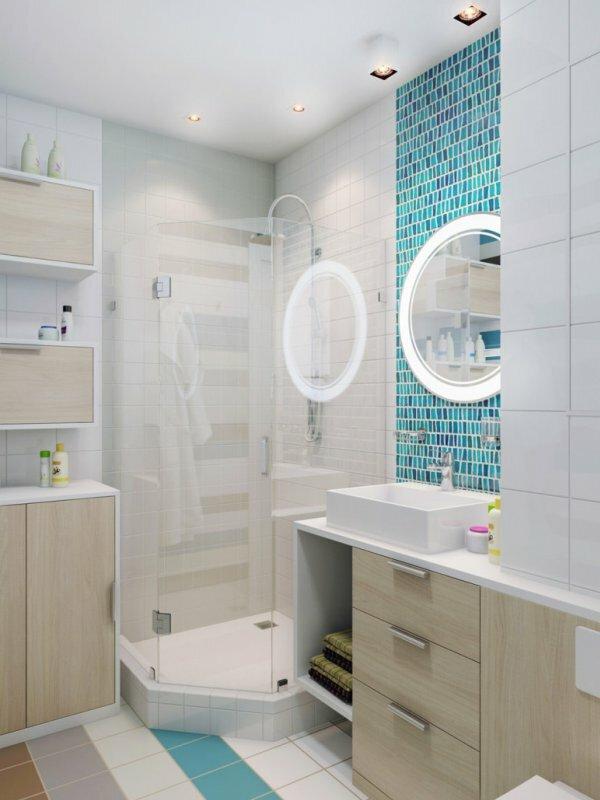 Бело-голубая ванная «Каюта»