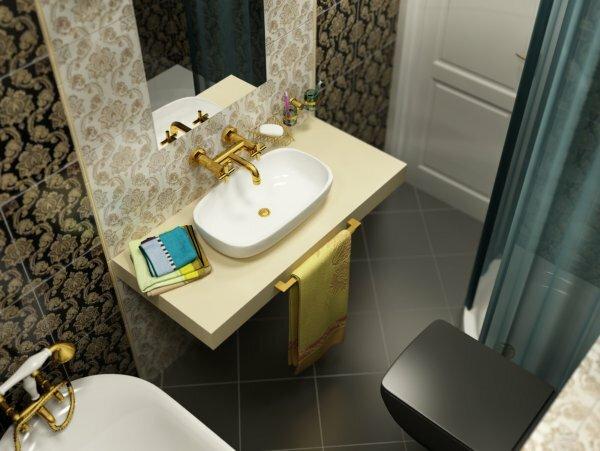 Коричневая ванная в классическом стиле