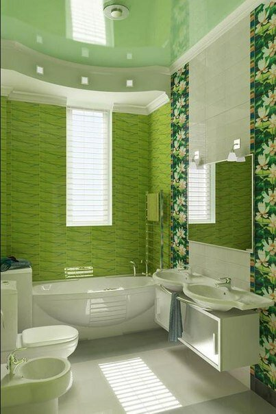 Зеленая ванная «Дыхание весны» с душевой кабиной