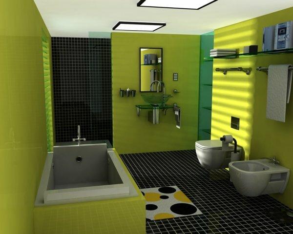 Зеленая ванная с чёрной мозаикой