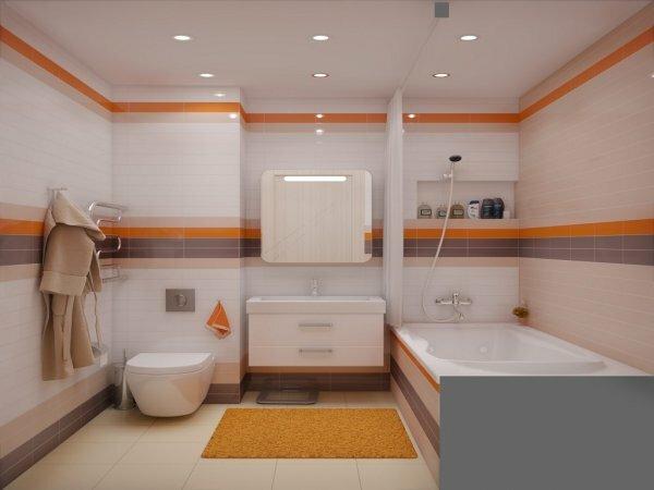 Белая ванная с горизонтальными цветными вставками