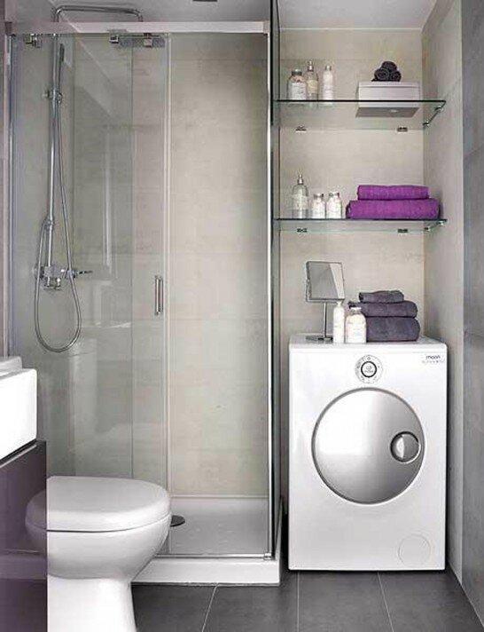 Минималистичная ванная со встроенной стиральной машиной