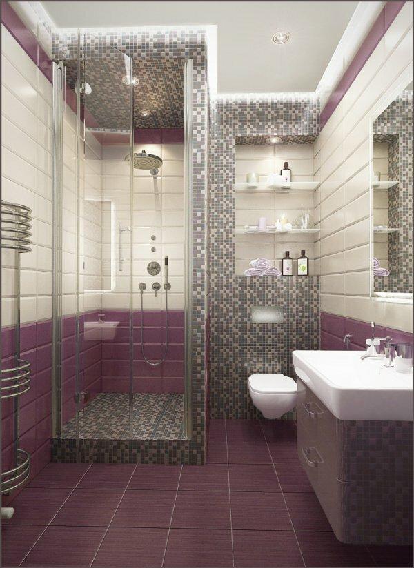 Фиолетовая ванная с мозаикой