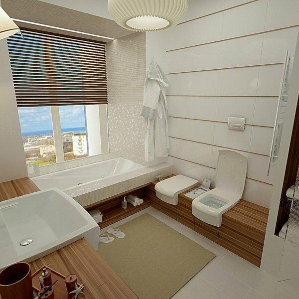«Мраморная» ванная с окном