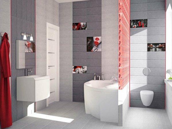 Серая ванная в стиле ретро