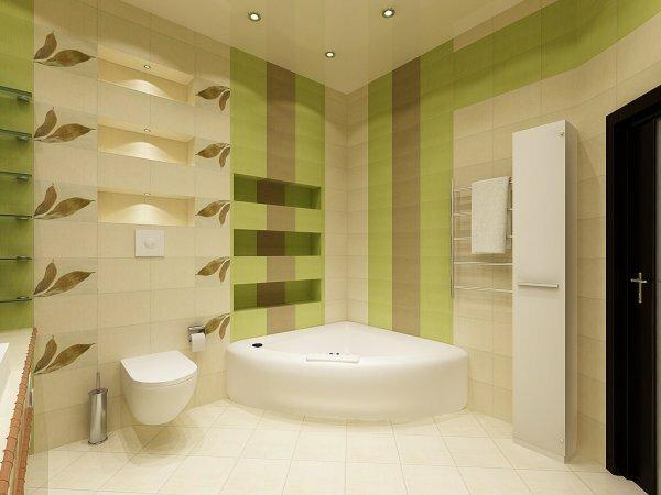 Зеленая ванная с отделкой «Листья»