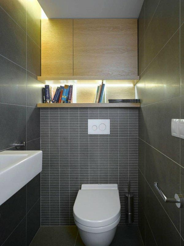 Серый мозаичный туалет с подсветкой