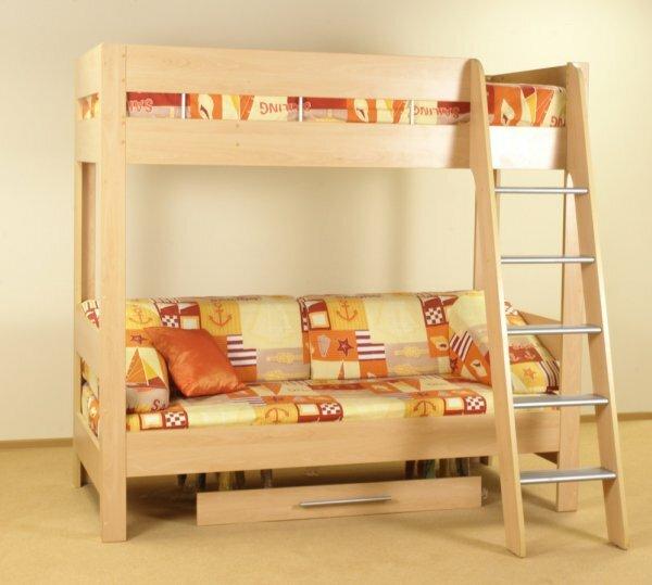 Солнечная кровать-чердак с нижним ящиком