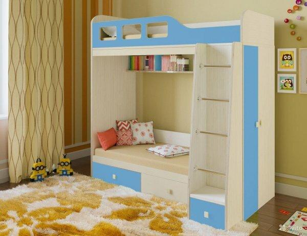 Кровать-чердак с боковым шкафом и нижними ящиками