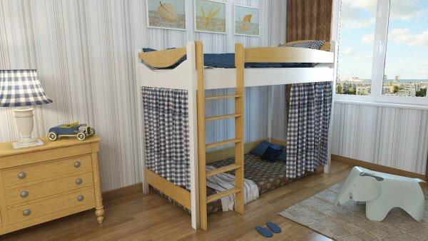 Кровать-чердак с уютной нишей и драпировками