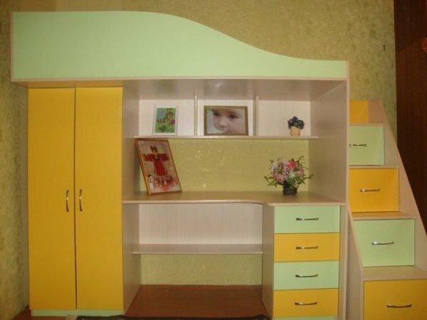 Кровать-чердак с рабочим местом юной леди
