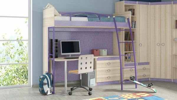 Кровать-чердак с пристроенным стеллажом