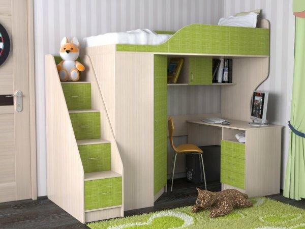 Простая кровать-чердак для младшей школьницы
