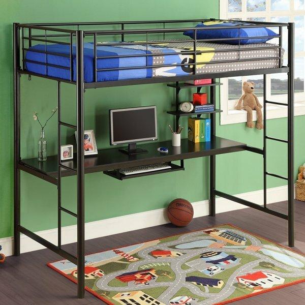 Минималистичная кровать-чердак со встроенным компьютерным столом