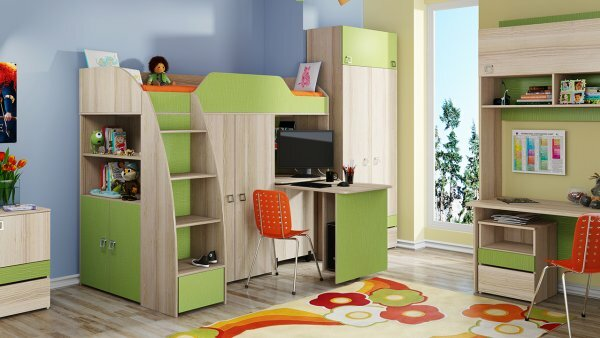 Зеленая кровать-чердак с боковым шкафом и выдвижным столом