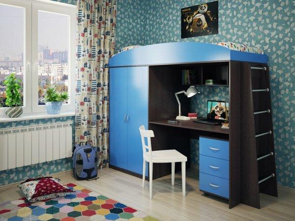 Кровать-чердак со встроенным шкафом и письменным столом