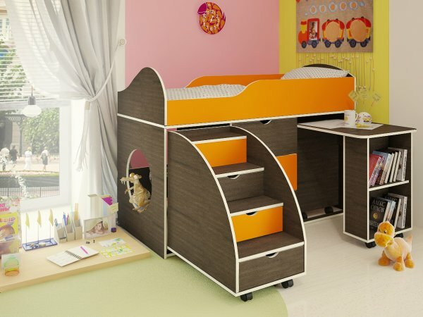Кровать-чердак с боковым столом
