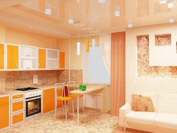 Яркий дизайн кухни в квартире -студии