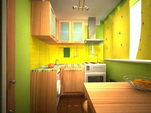 Кухня в неожиданно ярких цветах будет поднимать вам настроение