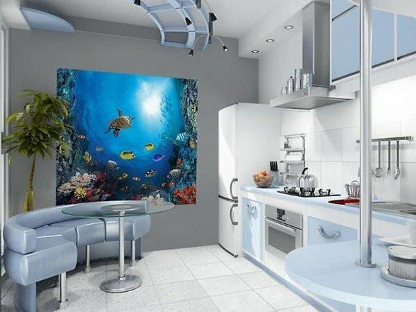 Роскошный «аквариум» на стене из 3D-фотообоев