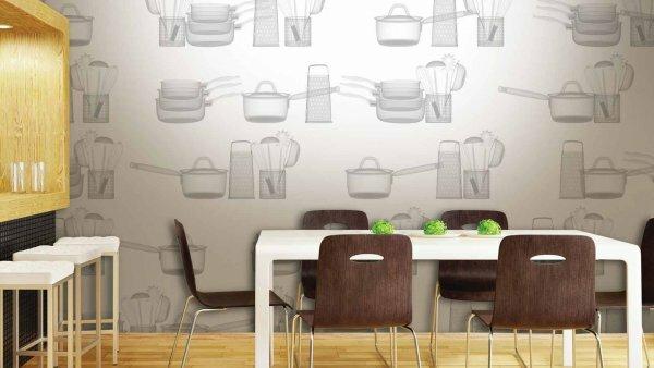 Серебристая акцентная стена «Кухонная утварь»