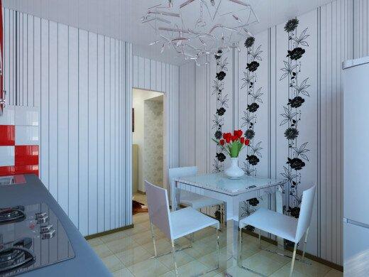 Черно-белая тонкая полоса + стилизованные цветы