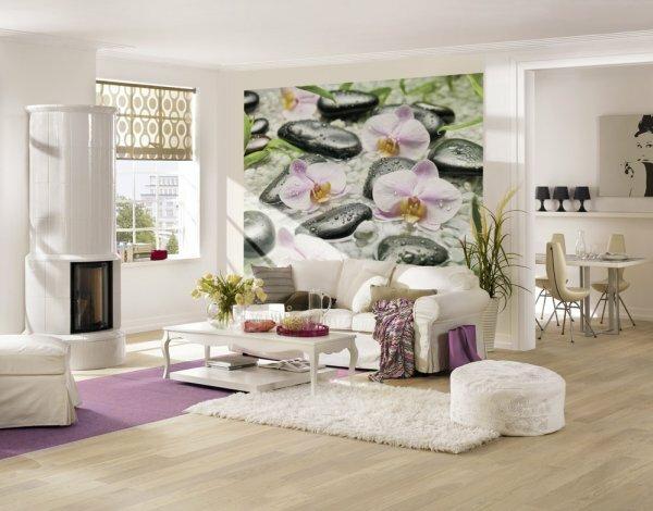 Белые однотонные и фотообои «Лилии»