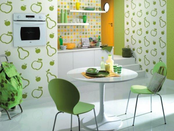 Бело-зеленые виниловые «Яблоки и груши»