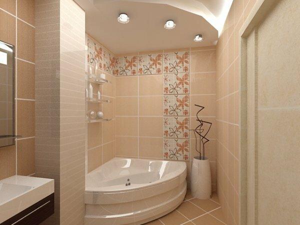 Совмещенная ванная, разделенная вертикальной полосой кафеля