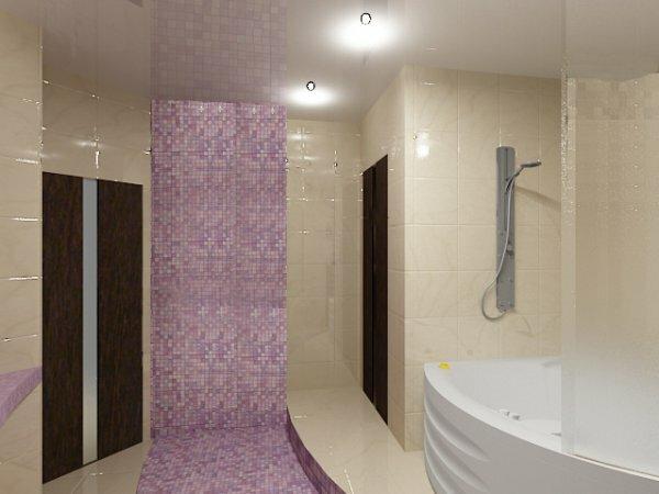 Бежевая мозаика с фиолетовой полосой