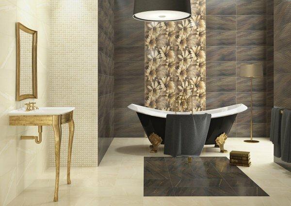 Коричневая ванная «Цветы»