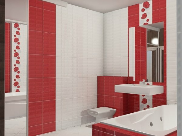 Красно-белая вертикальная укладка с декором «Маки»