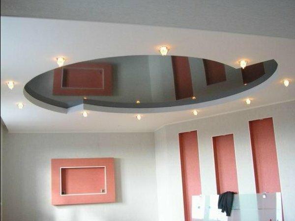 Двухуровневый зеркальный потолок с подсветкой